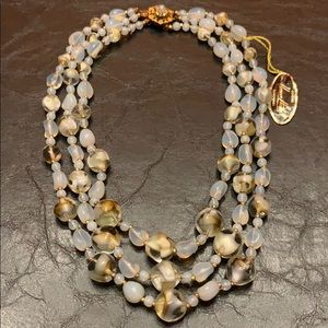 Miriam Haskell Very Unique 3 stand necklace l